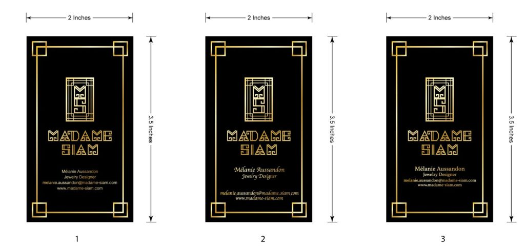 Madame Siam business cards draft by Suzaku Productions
