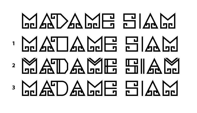MADAME SIAM logo font draft by Suzaku Productions