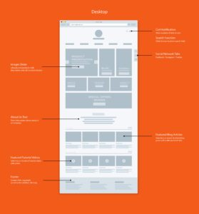CREABOW CRAFT website wireframe Home page by Suzaku Productions
